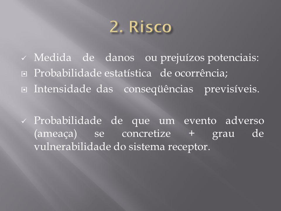 2. Risco Medida de danos ou prejuízos potenciais: