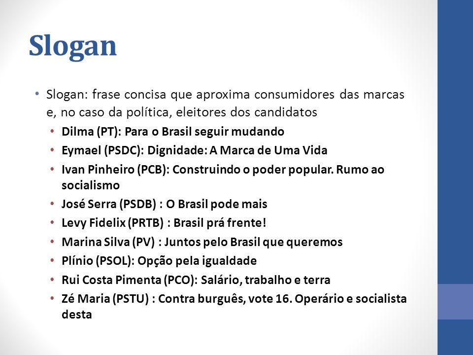 Slogan Slogan: frase concisa que aproxima consumidores das marcas e, no caso da política, eleitores dos candidatos.