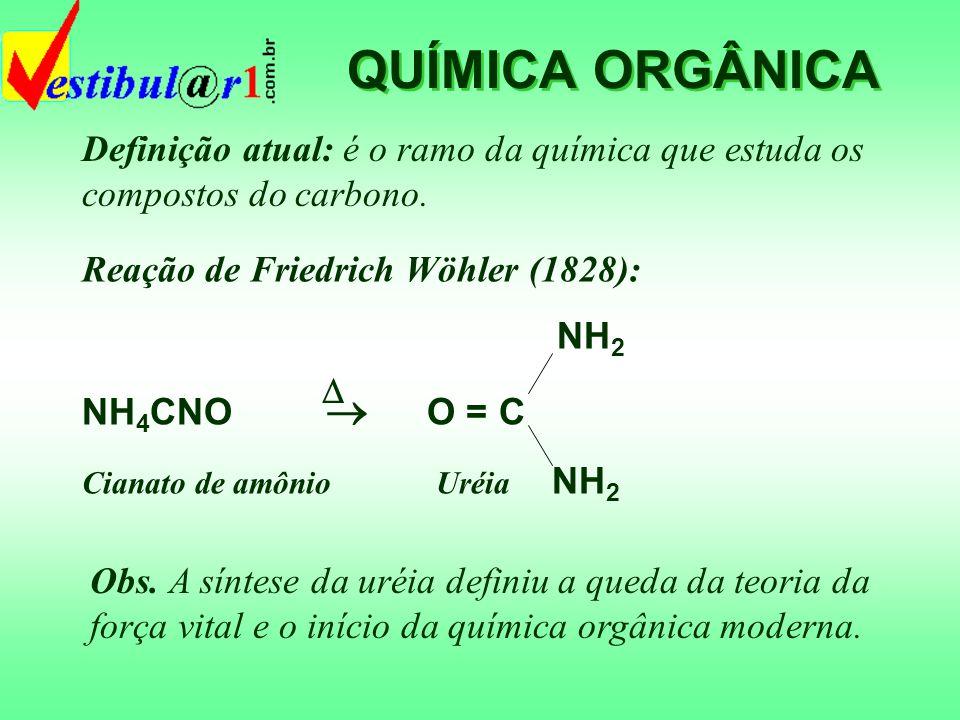 QUÍMICA ORGÂNICA Definição atual: é o ramo da química que estuda os compostos do carbono. Reação de Friedrich Wöhler (1828):