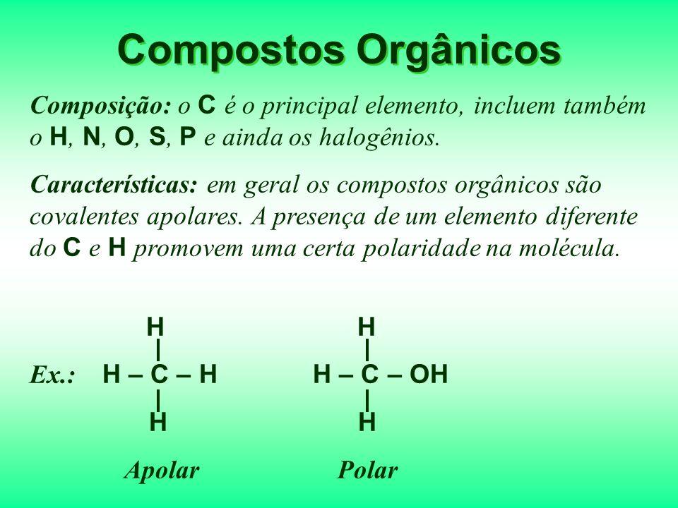 Compostos Orgânicos Composição: o C é o principal elemento, incluem também o H, N, O, S, P e ainda os halogênios.