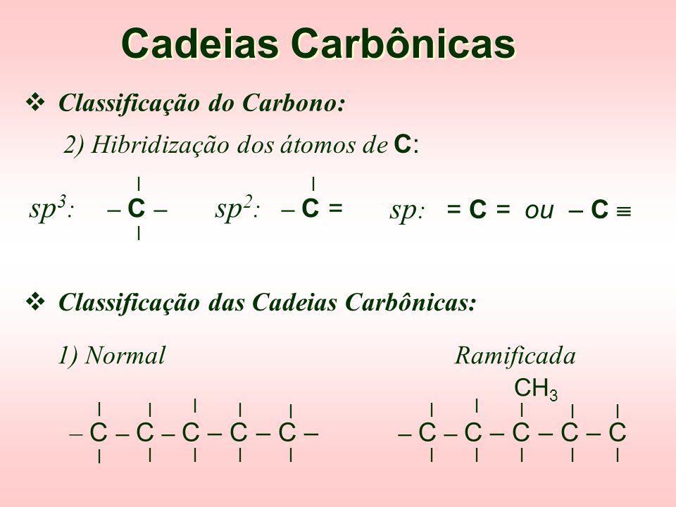 Cadeias Carbônicas sp3: – C – sp2: – C = sp: = C = ou – C 