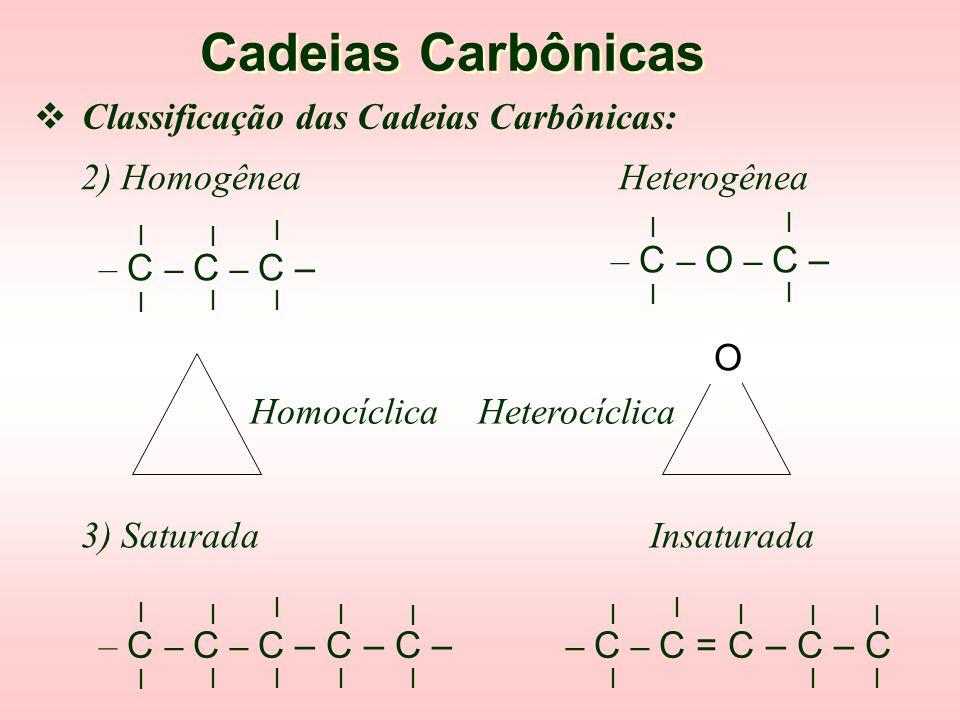 Cadeias Carbônicas Classificação das Cadeias Carbônicas: