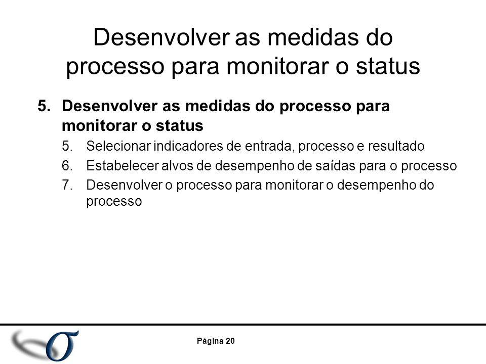 Desenvolver as medidas do processo para monitorar o status