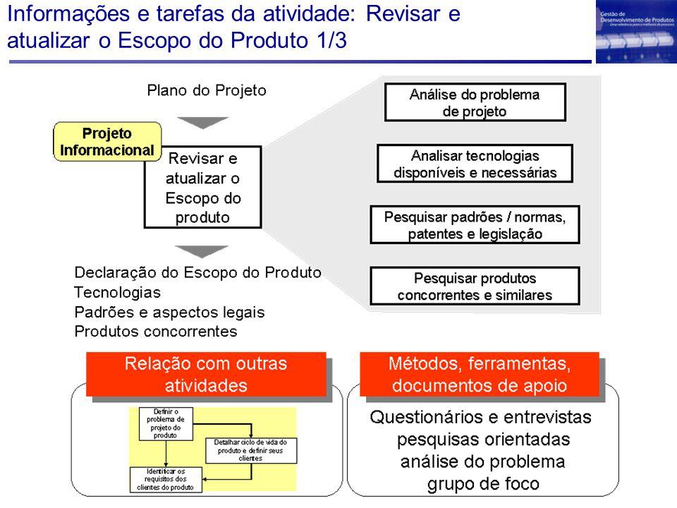 Informações e tarefas da atividade: Revisar e atualizar o Escopo do Produto 1/3