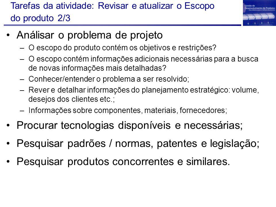 Análisar o problema de projeto