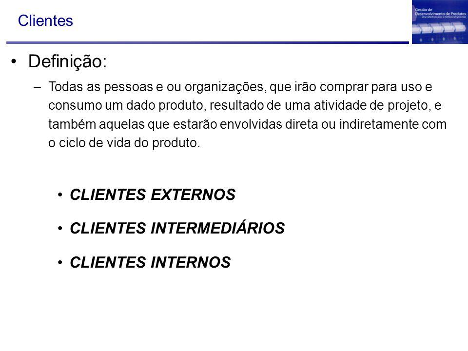 Definição: Clientes CLIENTES EXTERNOS CLIENTES INTERMEDIÁRIOS