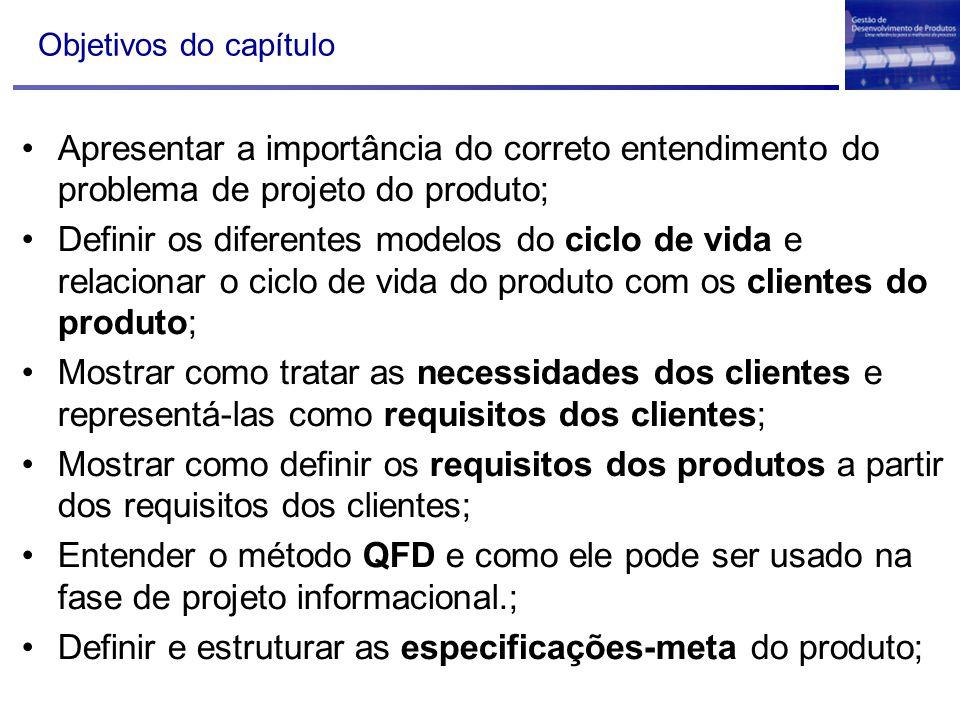 Definir e estruturar as especificações-meta do produto;
