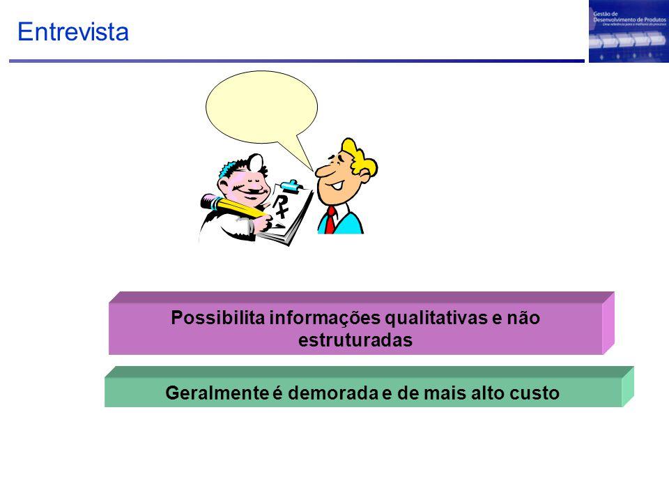 Entrevista Possibilita informações qualitativas e não estruturadas
