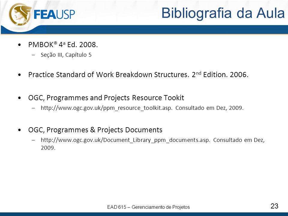 Bibliografia da Aula PMBOK® 4a Ed. 2008.