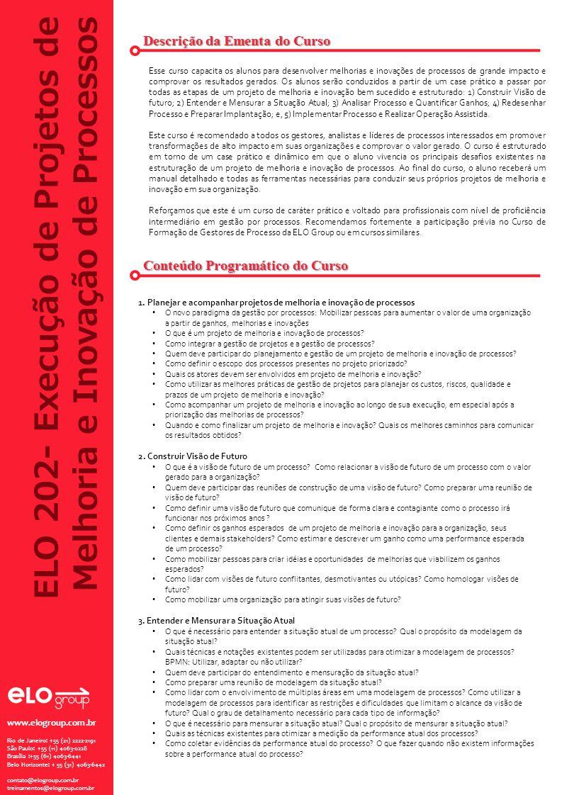 ELO 202- Execução de Projetos de Melhoria e Inovação de Processos