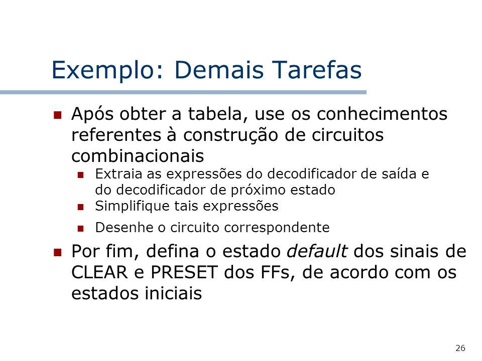 Exemplo: Demais Tarefas