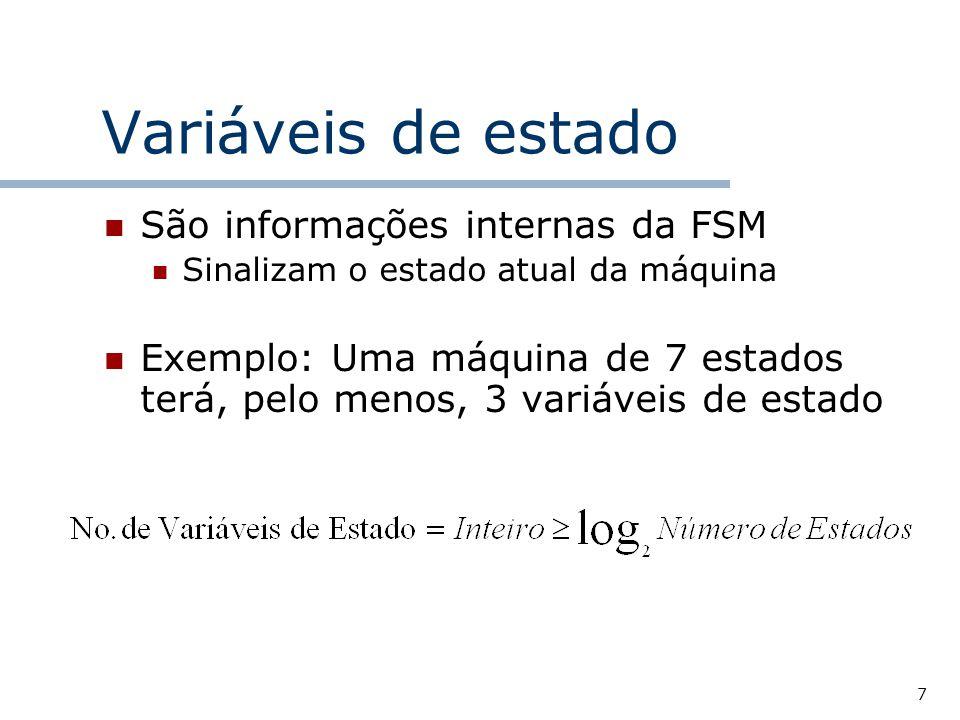 Variáveis de estado São informações internas da FSM