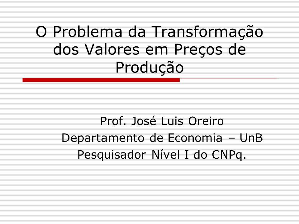 O Problema da Transformação dos Valores em Preços de Produção