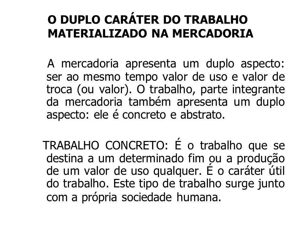 O DUPLO CARÁTER DO TRABALHO MATERIALIZADO NA MERCADORIA