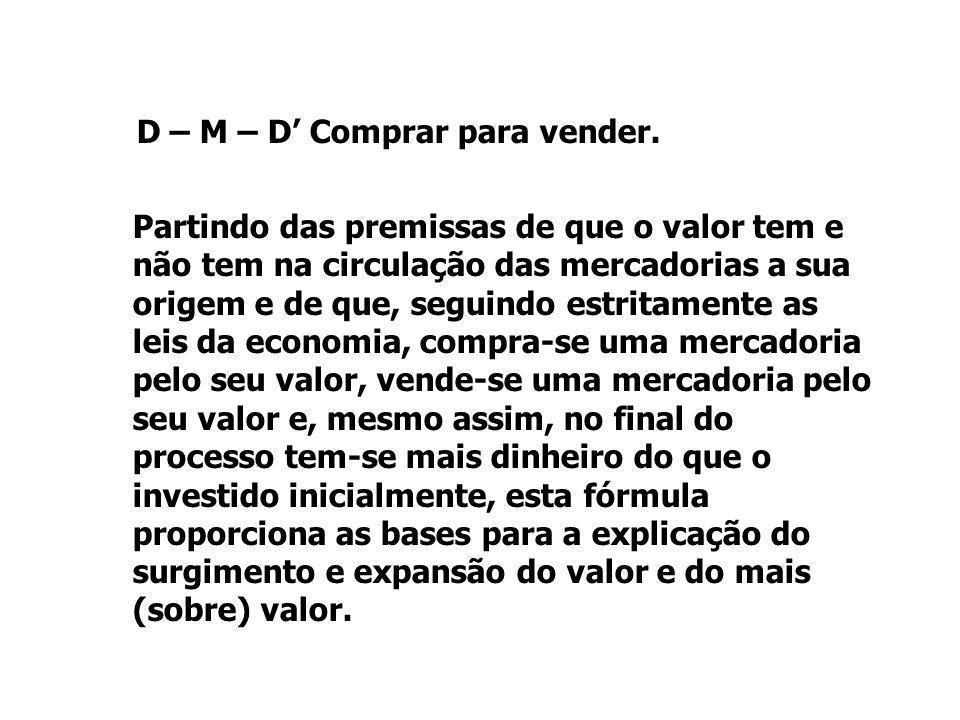 D – M – D' Comprar para vender.