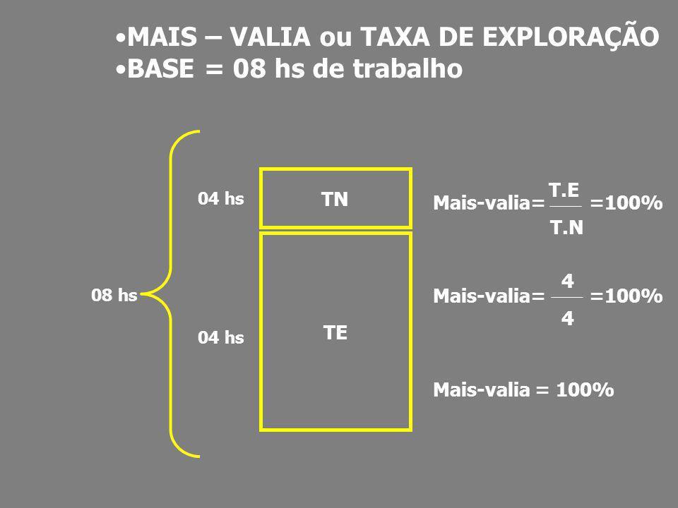MAIS – VALIA ou TAXA DE EXPLORAÇÃO BASE = 08 hs de trabalho