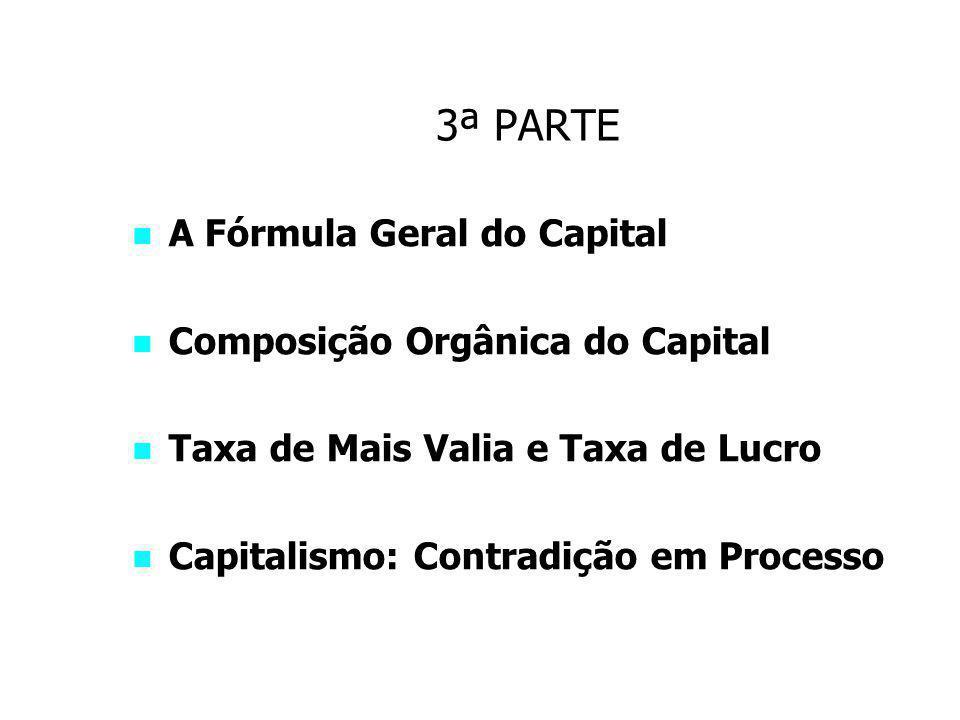 3ª PARTE A Fórmula Geral do Capital Composição Orgânica do Capital
