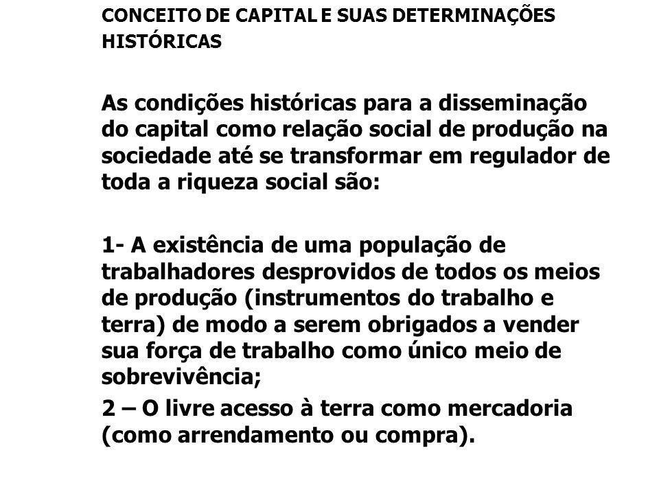 CONCEITO DE CAPITAL E SUAS DETERMINAÇÕES