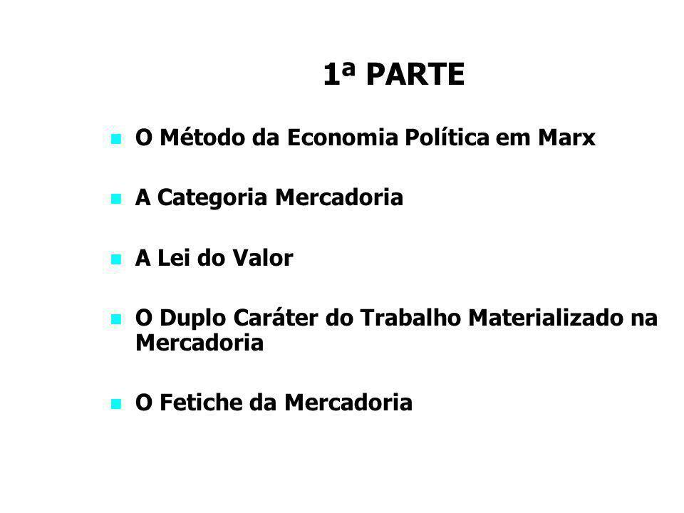 1ª PARTE O Método da Economia Política em Marx A Categoria Mercadoria
