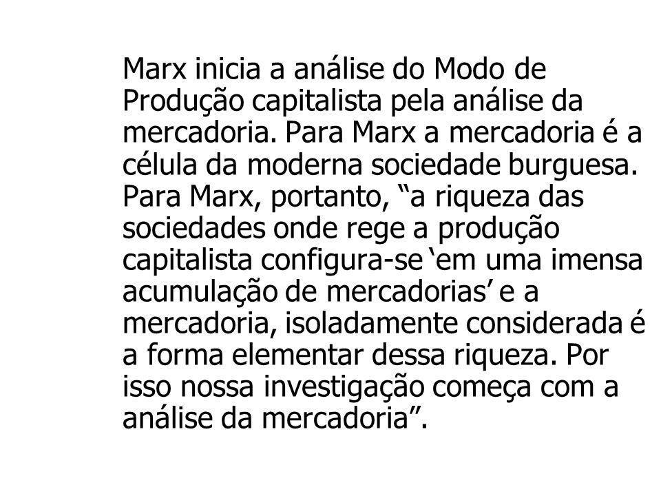 Marx inicia a análise do Modo de Produção capitalista pela análise da mercadoria.