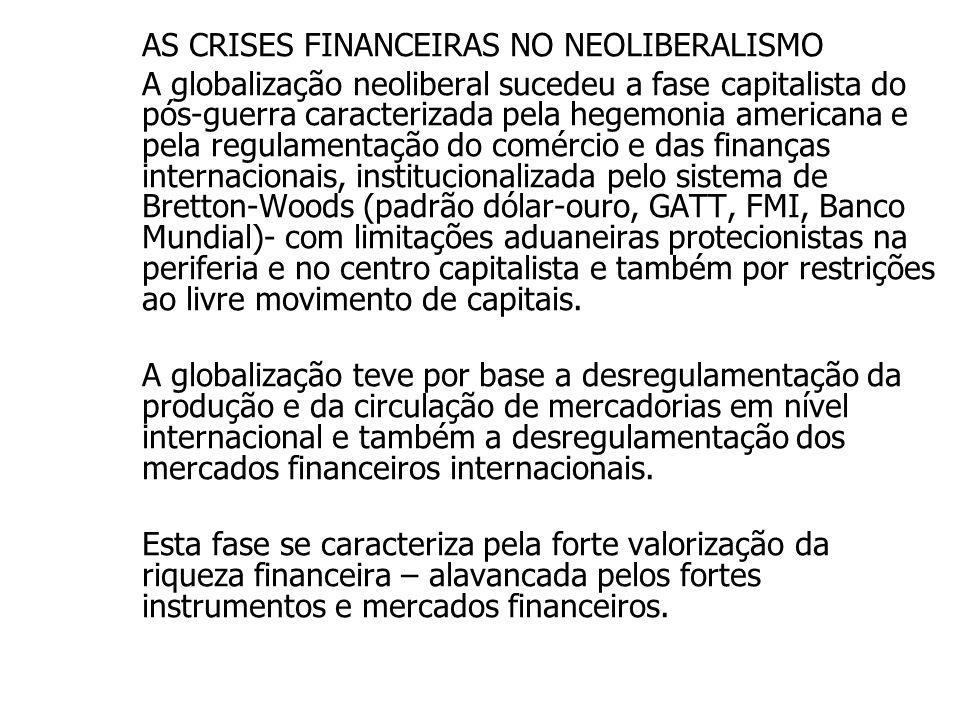 AS CRISES FINANCEIRAS NO NEOLIBERALISMO