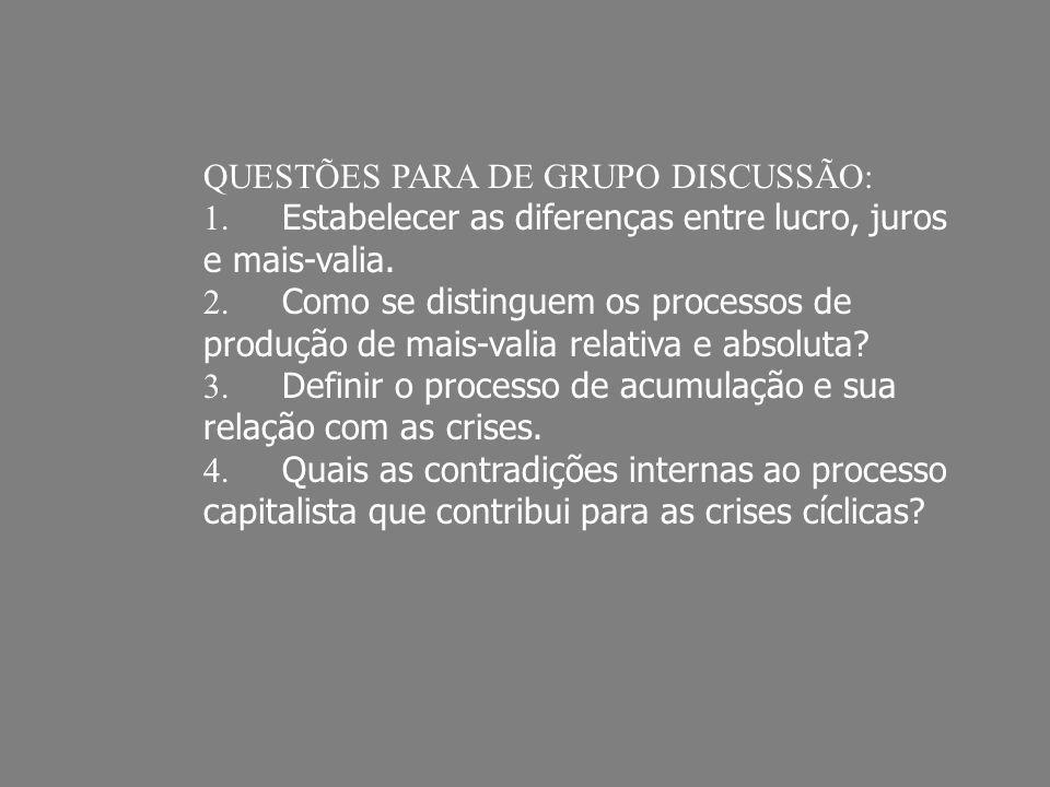QUESTÕES PARA DE GRUPO DISCUSSÃO: