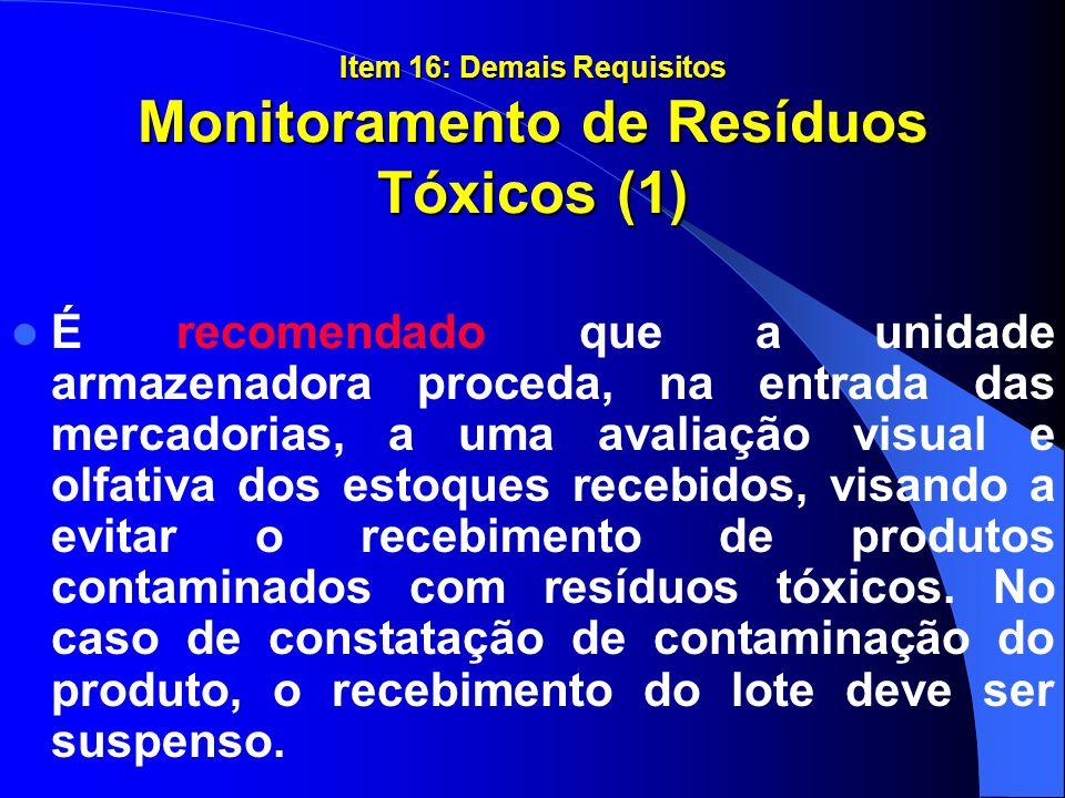 Item 16: Demais Requisitos Monitoramento de Resíduos Tóxicos (1)