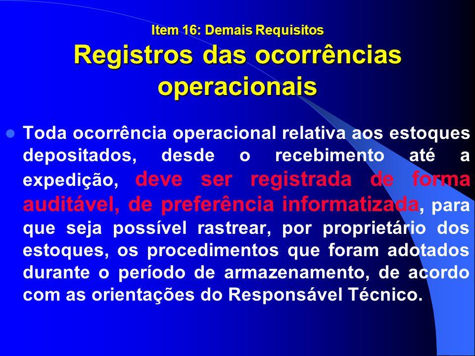 Item 16: Demais Requisitos Registros das ocorrências operacionais