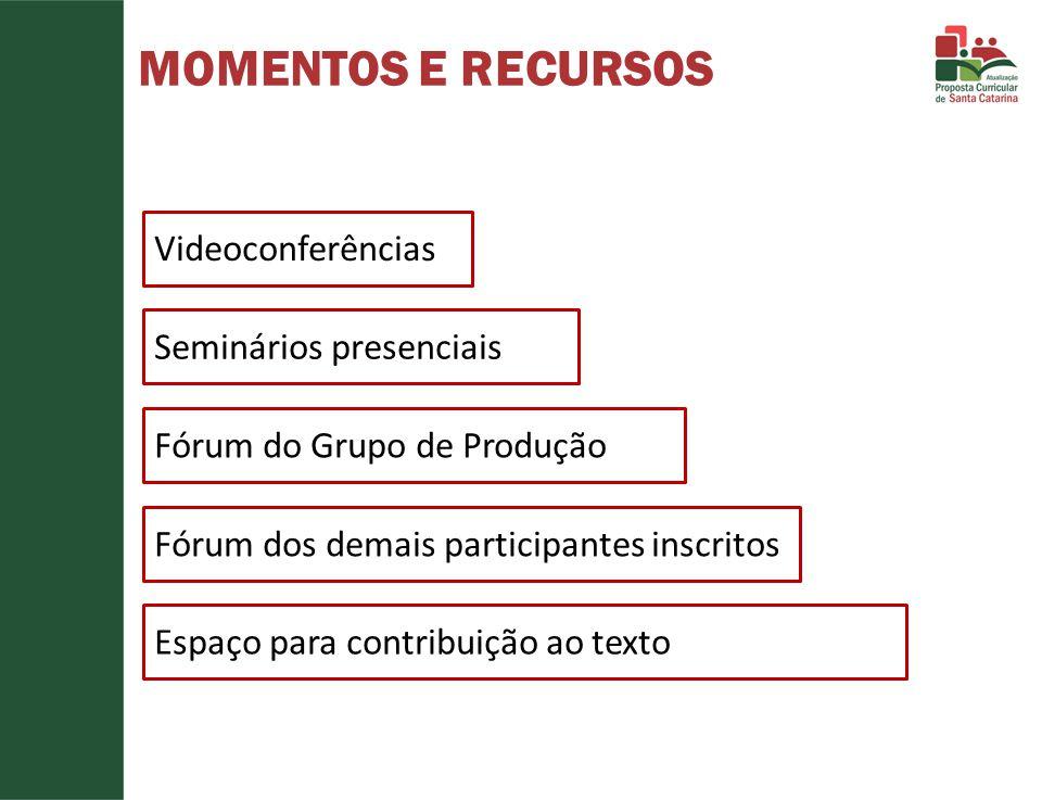 MOMENTOS E RECURSOS Videoconferências Seminários presenciais