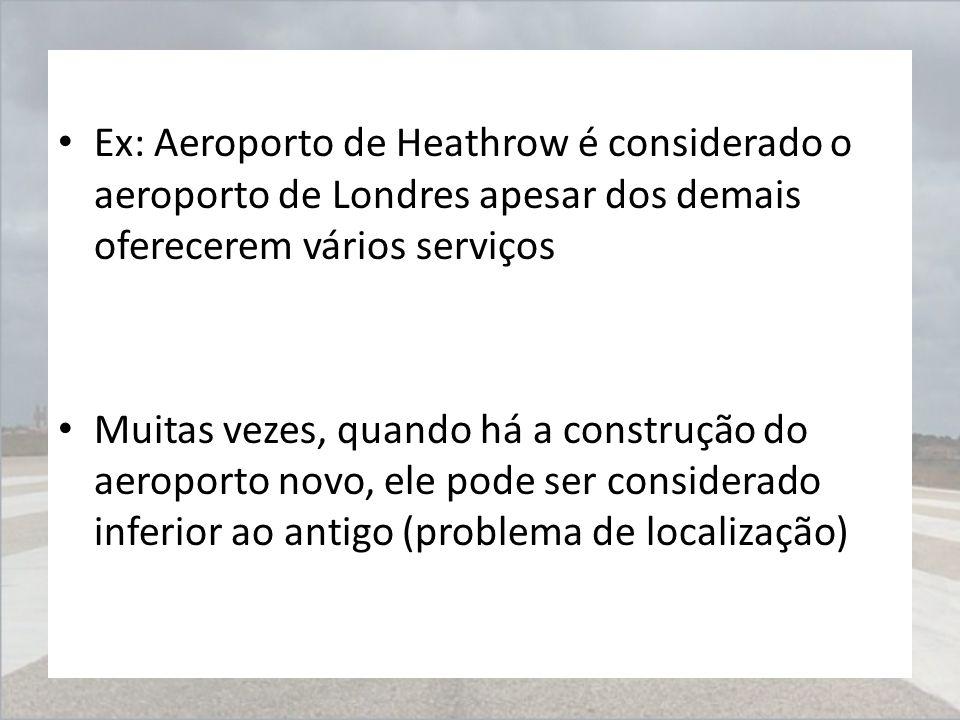Ex: Aeroporto de Heathrow é considerado o aeroporto de Londres apesar dos demais oferecerem vários serviços