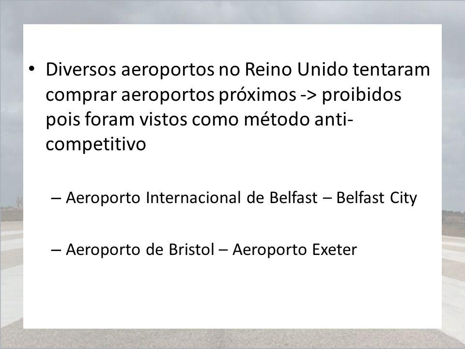 Diversos aeroportos no Reino Unido tentaram comprar aeroportos próximos -> proibidos pois foram vistos como método anti-competitivo