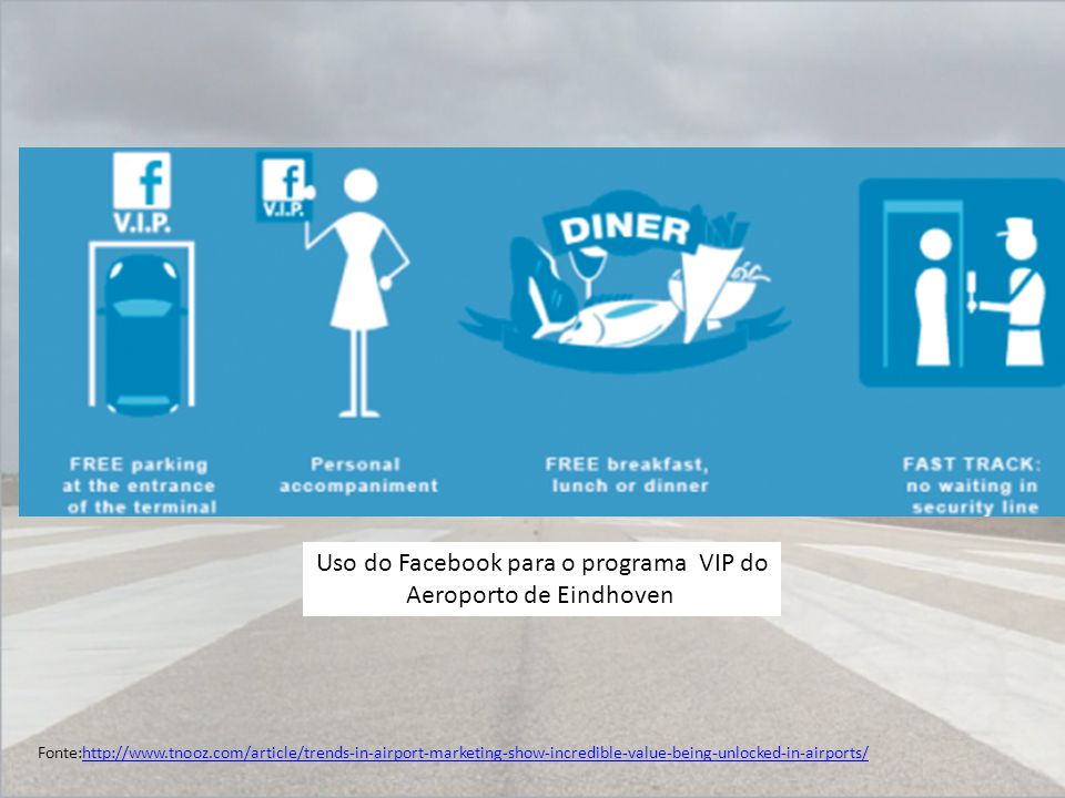 Uso do Facebook para o programa VIP do Aeroporto de Eindhoven