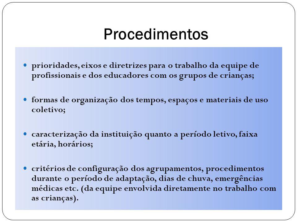 Procedimentos prioridades, eixos e diretrizes para o trabalho da equipe de profissionais e dos educadores com os grupos de crianças;