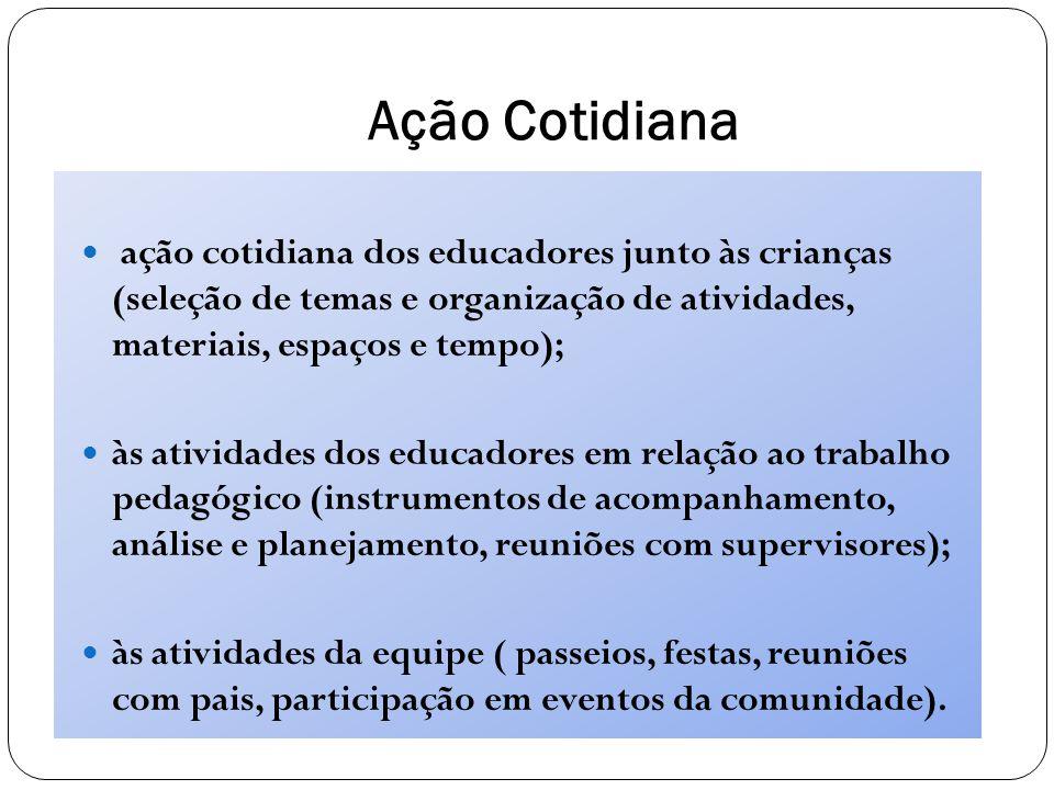 Ação Cotidiana ação cotidiana dos educadores junto às crianças (seleção de temas e organização de atividades, materiais, espaços e tempo);