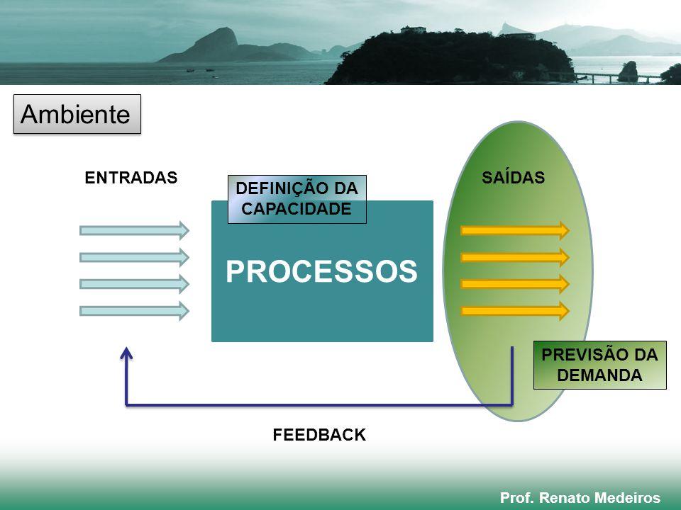 PROCESSOS Ambiente ENTRADAS SAÍDAS DEFINIÇÃO DA CAPACIDADE PREVISÃO DA