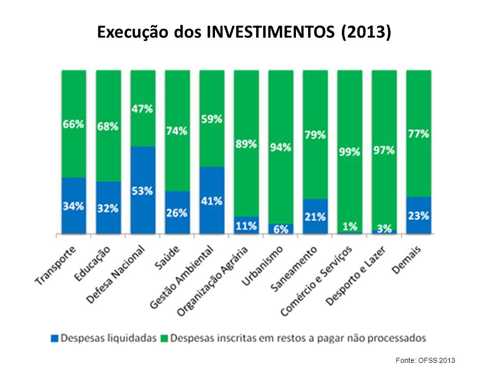 Execução dos INVESTIMENTOS (2013)