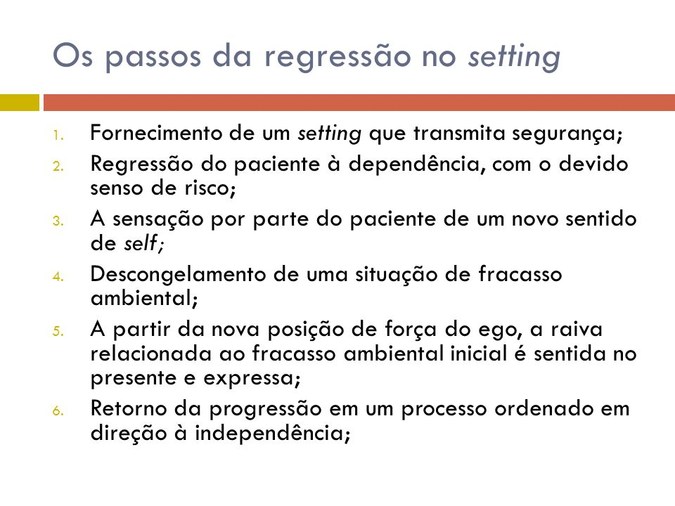 Os passos da regressão no setting
