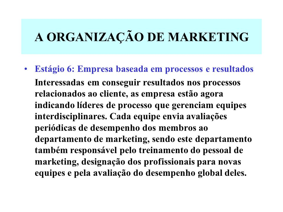 A ORGANIZAÇÃO DE MARKETING