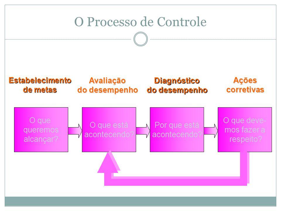 O Processo de Controle O que queremos alcançar Estabelecimento
