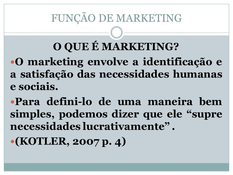 FUNÇÃO DE MARKETING O QUE É MARKETING
