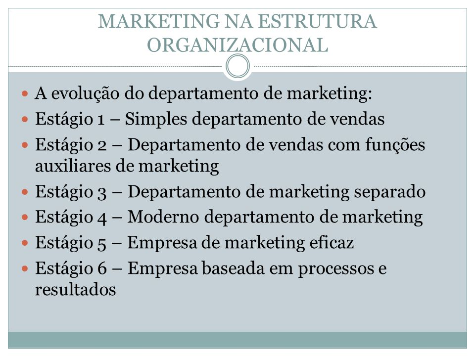 MARKETING NA ESTRUTURA ORGANIZACIONAL