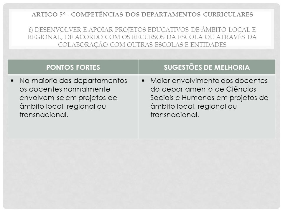 PONTOS FORTES SUGESTÕES DE MELHORIA