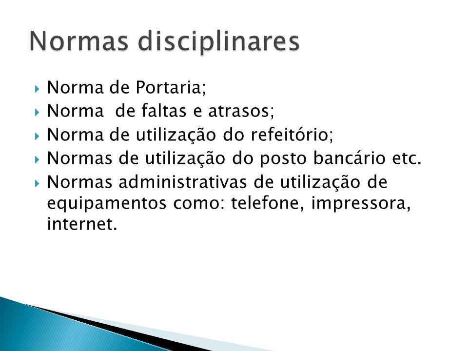 Normas disciplinares Norma de Portaria; Norma de faltas e atrasos;