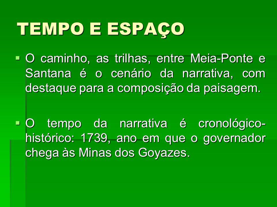 TEMPO E ESPAÇO O caminho, as trilhas, entre Meia-Ponte e Santana é o cenário da narrativa, com destaque para a composição da paisagem.