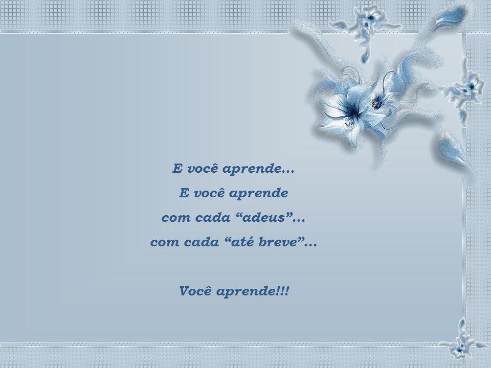 E você aprende... E você aprende com cada adeus ... com cada até breve ... Você aprende!!!