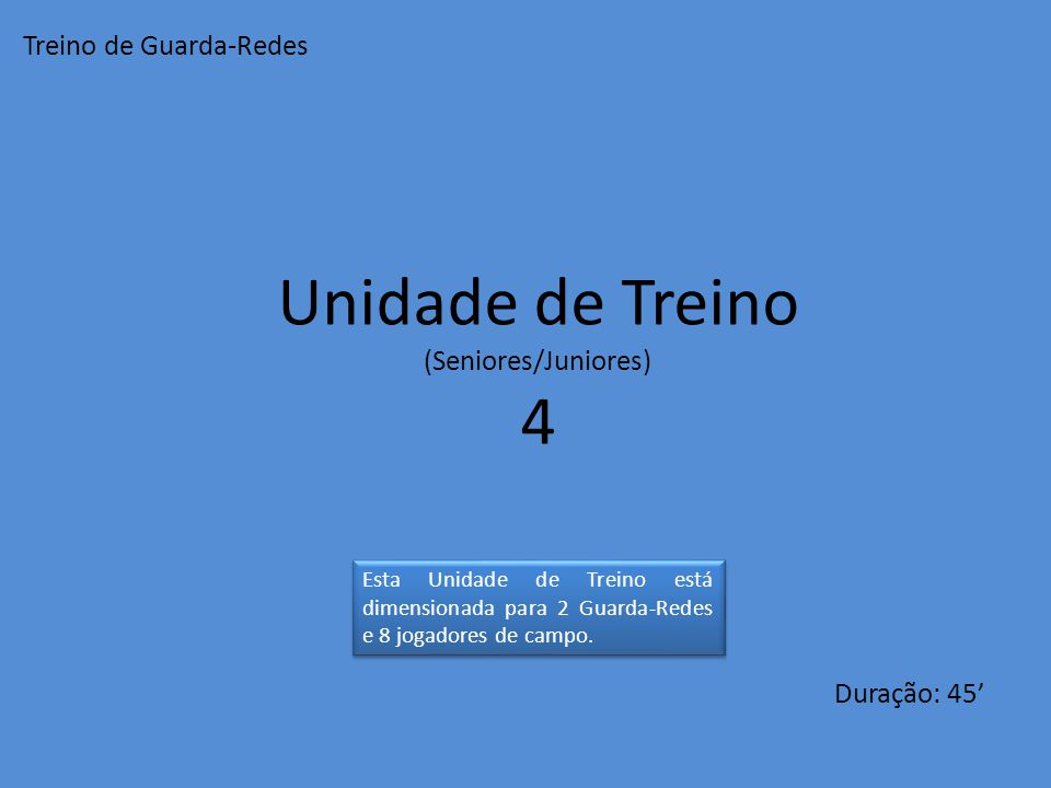 Unidade de Treino 4 Treino de Guarda-Redes (Seniores/Juniores)