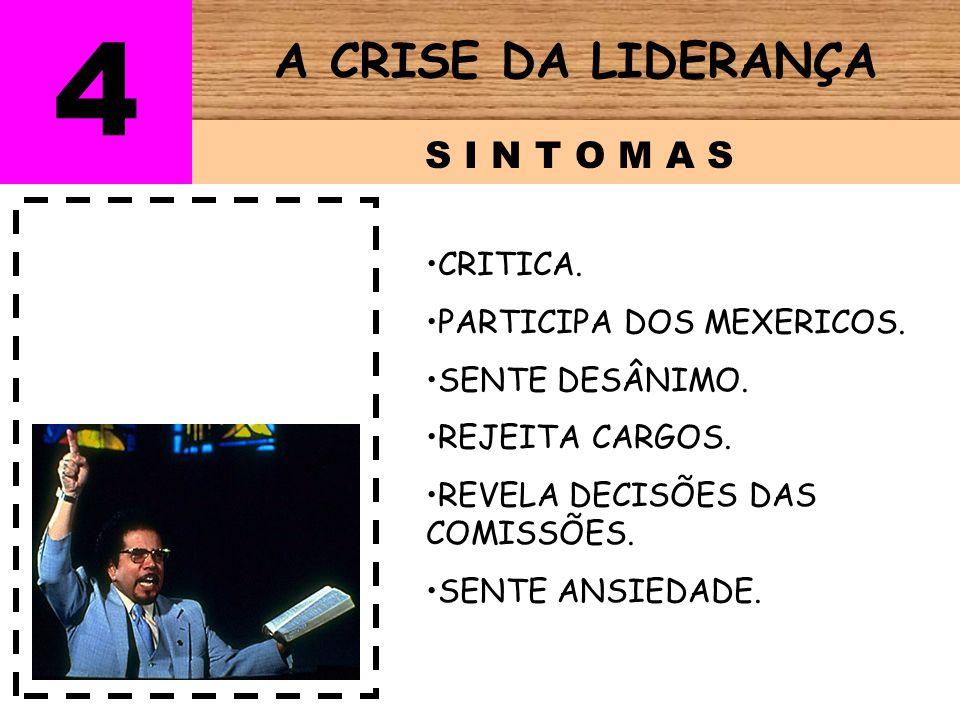 4 A CRISE DA LIDERANÇA S I N T O M A S CRITICA.