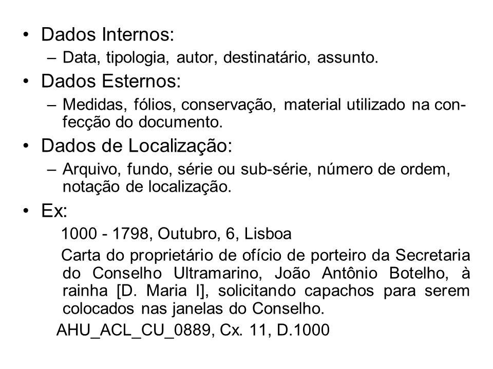 Dados Internos: Dados Esternos: Dados de Localização: Ex: