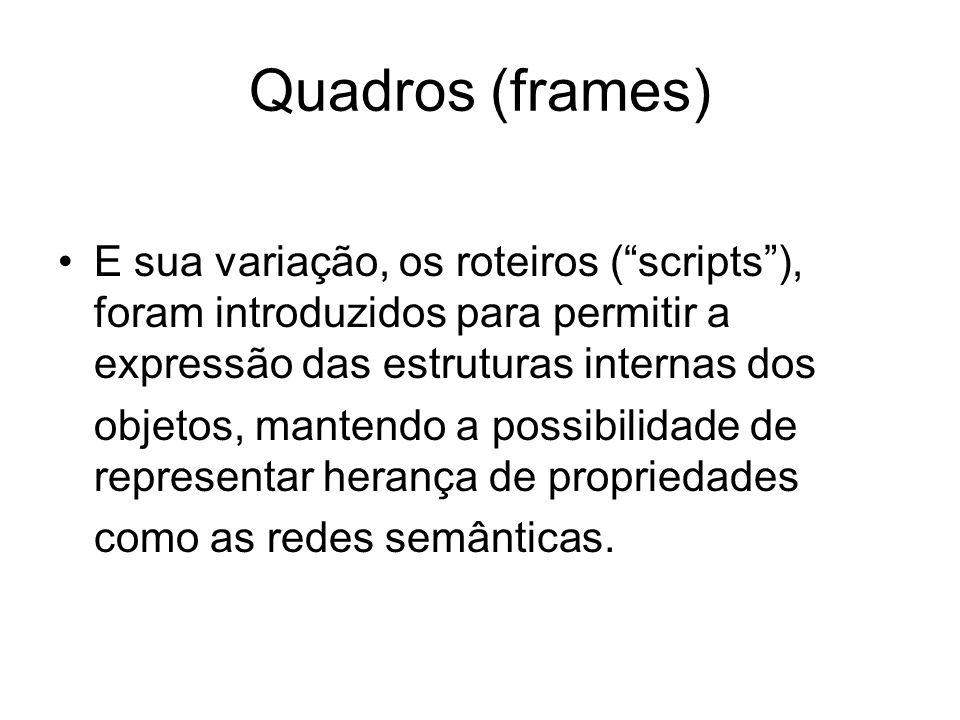 Quadros (frames) E sua variação, os roteiros ( scripts ), foram introduzidos para permitir a expressão das estruturas internas dos.