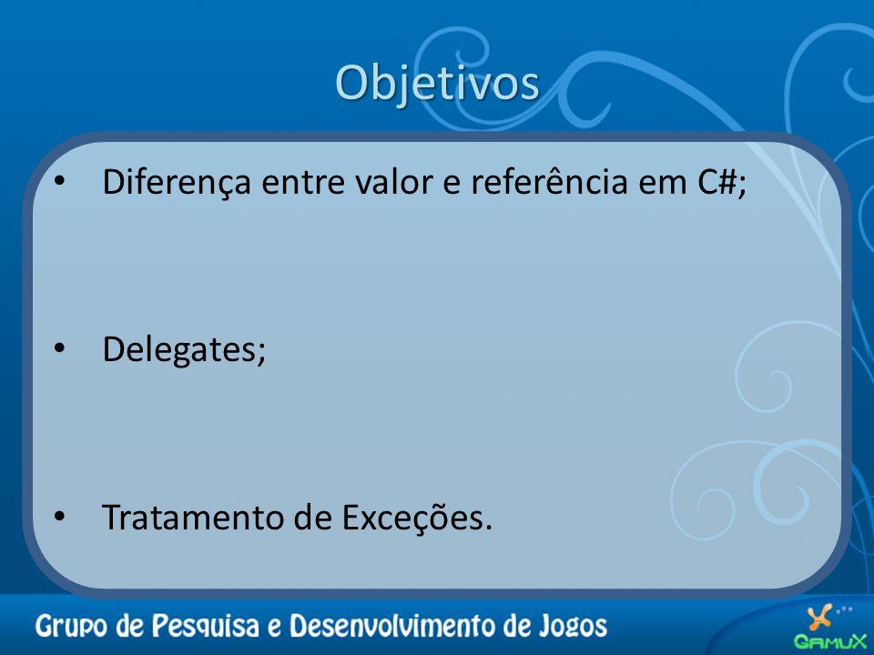 Objetivos Diferença entre valor e referência em C#; Delegates;